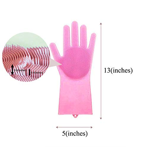 Magic Silicone Gloves Reusable Wash Scrubber Heat Resistant Cleaning Tool Great for Household, Dishwasher, Washing The Car, Pet Hair Care and Massage, a pair (Pink)