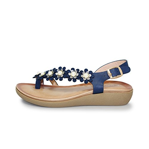 Lunar Bow' Floral Toe Loop Sandal with Padded Insole, Lightweight and Comfortable, Beige, Blue, Black Red, Sizes 3,4,5,6,7,8 Blue