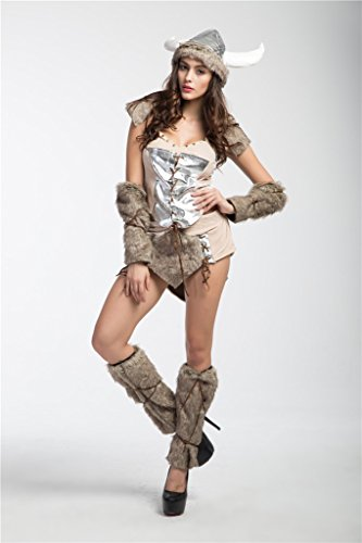 Bigood Femme Déguisement Cosplay Aborigène Voleur Vache Costume Halloween