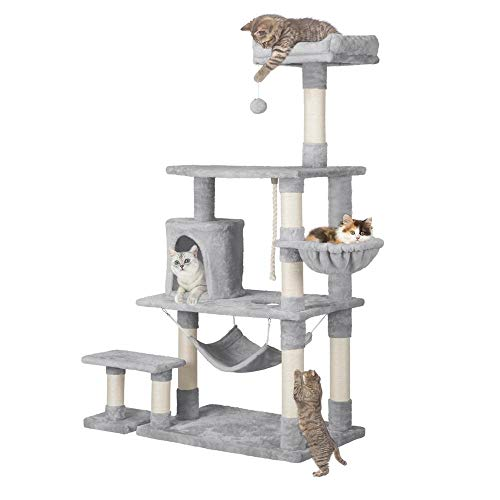 Yaheetech 62in Extra Large Cat Tree Condo with Sisal-Covered Scratching Post Plush Perch Hammock