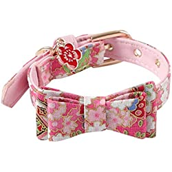 MaxFox Adjustable Collar Dog Nylon Footprints Butterfly Bow Puppy Cloth Pet Collars With Bells Pet Accessories for Decoration (Pink)