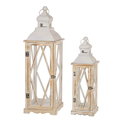 - Glitzhome Farmhouse Wood Metal Lanterns Decorative Hanging Candle Lanterns White Set of 2