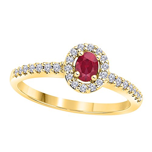 DreamJewels 0.50 Carat (ctw) Awesome 14K Yellow Gold Plated Alloy CZ Oval Red Ruby & CZ Diamond Ladies Halo Engagement Ring (4-12)
