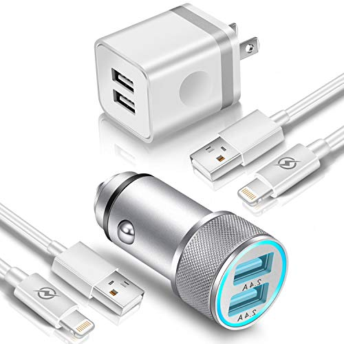 Car Charger + Wall Plug + 2X USB Cable (4in1), FIMARR Dual Port 2.4A Car Charger + 2.1A Wall Plug with 2Pcs 3ft USB Charging Cord Compatible with Phone XS/XR/X 8/7/6 Plus, Pad Air Mini Pro (Pack-4)