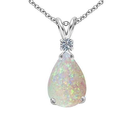 Opal and Genuine Diamond Pear Drop Pendant in Sterling Silver, 18''