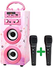 Dynasonic 025-12 Dziecięcy Zestaw do Karaoke, Wielokolorowy, 36.29 x 19.7 x 16.7 cm, 2 Mikrofony