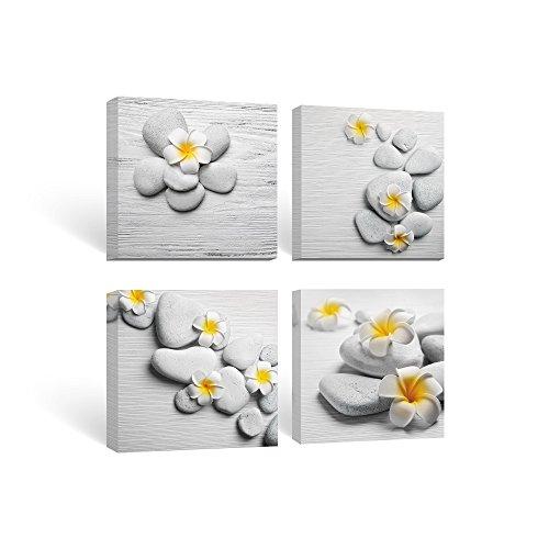 SUMGAR Framed Wall Art for Bathroom Canvas Paintings for Living Room Yellow Flowers Frangipani Zen Stones by SUMGAR