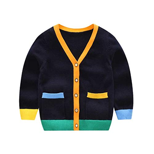Tonwod Baby Boy Cardigan, Long Sleeve V-Necked Knitted Button Sweater Coat Spring Autumn Tops for 3-9Y (80cm, Dark ()