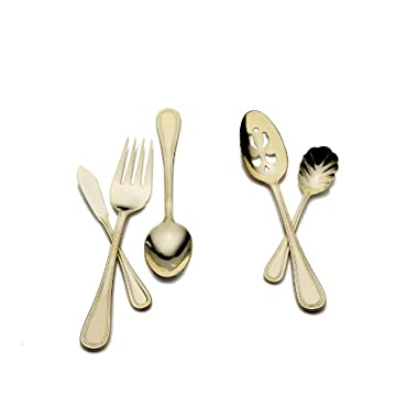 Wallace Continental Bead Gold-Plated 65-Piece Flatware Set