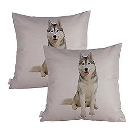Queenie - 2 Pcs Dog Breed Series II Decorative Pillowcase Cushion Cover for Sofa Throw Pillow Case 18 X 18 Inch 45 X 45 Cm, Set of 2 (Siberian Husky)