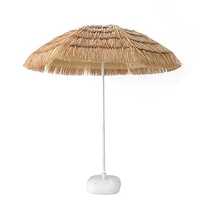 Caymus 7ft 9 ft Hula Thatched Tiki Umbrella Hawaiian Style Beach Patio Umbrella Natural Color 8 Ribs