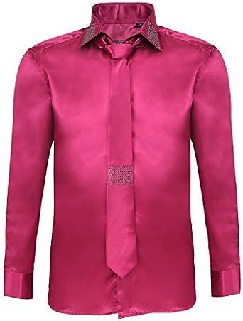Camisa y corbata de manga larga para hombre casual de algodón y satén