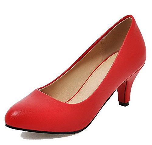 Medio Rosso Tonda Puro Tirare Donna Punta AgooLar Flats Tacco Luccichio Ballet CSawvq