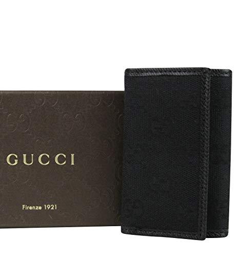 Gucci Unisex Trifold Black GG Canvas Key Chain Ring Holder 04564R (Gucci Key Ring)