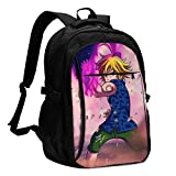 Business Computer The Seven Deadly Sins Meliodas Sword of Darkness Backpack with Headphone Port for Women & Men,Durable Anti-Theft Hiking Backpack for Boys Middle School Students Daypack