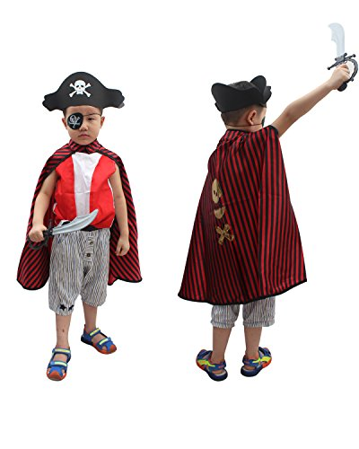 fedio Kid's Pirate Costume 4 Pieces Pirate Role Play Dress up Set with Pirate Cape, Hat, Eye Patch and Sword for Toddlers Childrens Ages (Piece Pirate Costume Set)