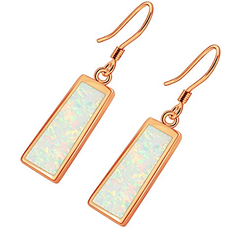 Hermosa Drop Earrings Rose Gold Australian Fire Opal Women Jewelry (Rose Gold- White)