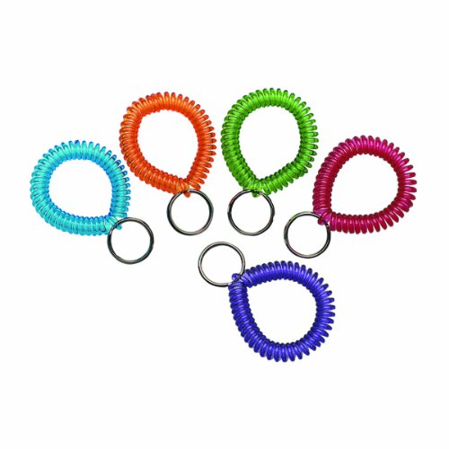 MMF Industries Cool Coil Wrist Holder with Key Ring, Box of 10, Assorted Colors - Wrist Industries Mmf Coil