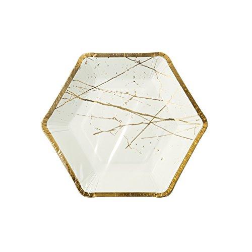 Talking Tables Modern Metallics Hexagonal Gold Trim Marbl...