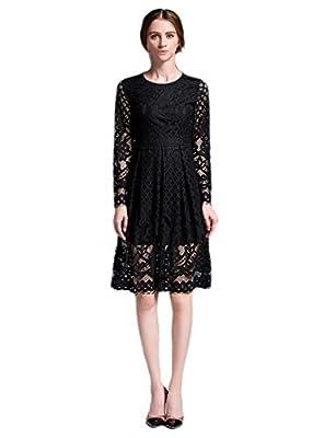 Choco Mocha Womens Vintage 1920s Black Lace Flapper Party Dress