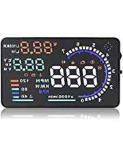 """wiiyii 5.5""""Car HUD Head Up Display A8, OBDII HUD True Colors Windshield Projection Display, Display Speed, RPM, Over Speed Alarm Remind Km/h MPH Automatic Digital Speedometer"""