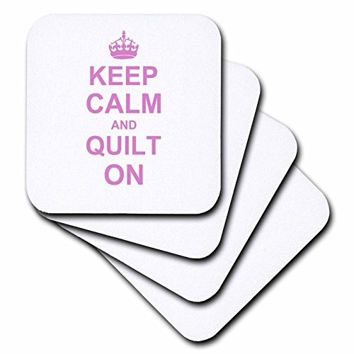 Quilt on - Carry on Quilting - Quilter Gifts - Pink Fun Funny Humor Humorous - Soft Coasters, Set of 4 (cst_157760_1) ()