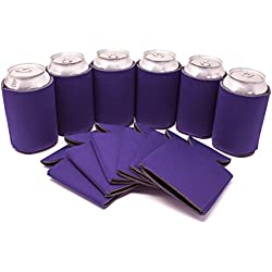 TahoeBay 12 Can Sleeves - Purple Beer Coolies for Cans and Bottles - Bulk Blank Drink Coolers – DIY Custom Wedding Favor, Funny Party Gift (Purple, 12)