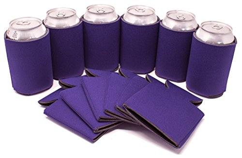 Personalized Party Cooler - TahoeBay 12 Can Sleeves - Purple Beer Coolies for Cans and Bottles - Bulk Blank Drink Coolers – Create Custom Wedding Favor, Funny Party Gift (12-Pack)