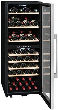 La Sommelera ECS80.2Z- Taza de vino, puerta doble y doble marco, color negro y acero inoxidable 75 botellas, 7 clayetes, madera[Clase de eficiencia energética B]