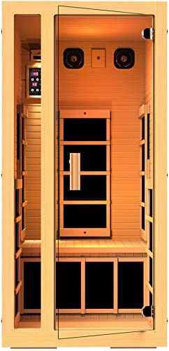 JNH Lifestyles Joyous 1 Person Canadian Hemlock Wood Far Infrared Sauna