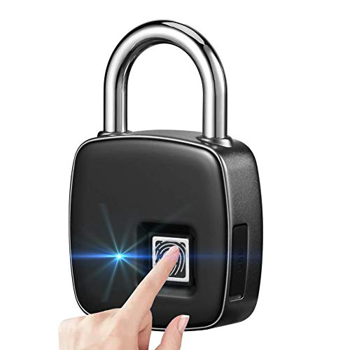 Smart Fingerprint Lock Biometric Portable Waterproof Padlock with Finger Print Control Safe Outdoor Security Touch Keyless Lock with Long Standby Time & USB Charging for Gym Office Cabinet Box - Black