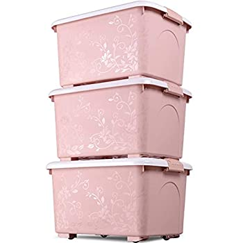 Image of Allenrous Storage Box with Wheels,Storage Baskets Toy Box Home Containers-Colorful Carved Plastic Finishing Bins (Color : Pink) Home and Kitchen