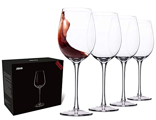 Hand Blown Italian Style Crystal Red Wine Glasses – Gift Packaging for Any Occasion – Lead-Free Premium Crystal Clear Glass – Set of 4 – 18 Ounce