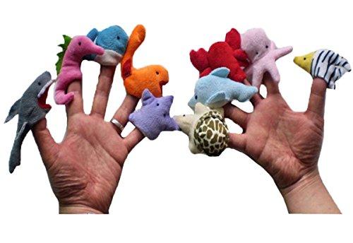 Happy Cherry - Lot de 10 Marionnette à Doigt en Forme D'animaux Marins - Marionnette à Doigt Mignon pour Bébé Enfant
