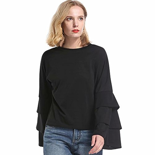 Reasoncool Women's Off the Shoulder Top Blouse, Fashion Solid Color Wild Trumpet Sleeves Shirt Round Neck Long Sleeve Ruffles Loose (Winner Front Lip)