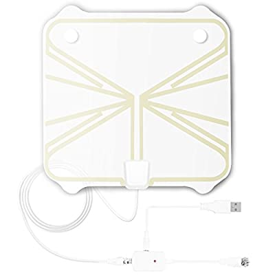 TV Antenna Indoor Amplified HDTV Antenna 50-100 Miles Range with Detachable Amplifier Signal Booster and 16.5FT High Performance Coax Cable - Extremely High Reception Indoor