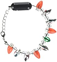 "Festive Christmas Light Bulb Light-Up Bracelet with Charms Party Accessory, Plastic, 8""-11"""
