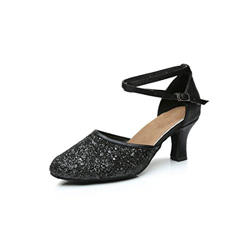 Dance Sequin - GetMine Womens Latin Dance Shoes Heeled Ballroom Salsa Tango Party Sequin Dance Shoes Black 9 B(M)