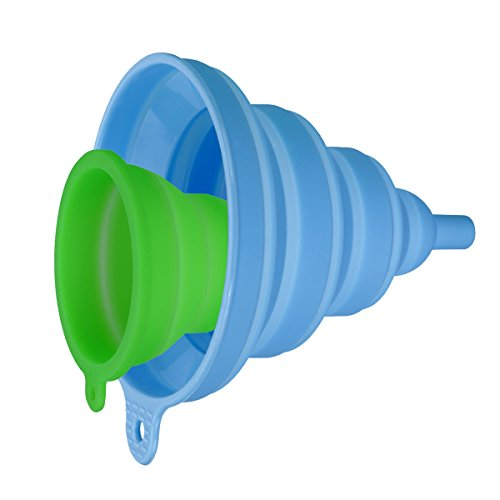 INMAKER Collapsible Funnel Set, 2 Pack, Small and Large, Silicone Foldable Funnel for Water Bottle