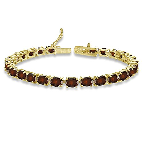 (Yellow Gold Flashed Sterling Silver 6X4mm Garnet Oval-cut Tennis Bracelet)
