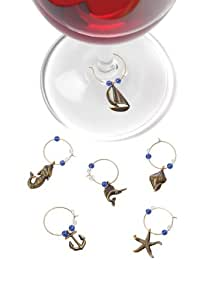 Marina Set of 6 Pewter Wine Charms by True