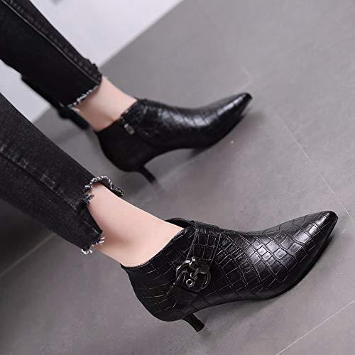 stivali di stivali corti ha stivali tacchi cm cintura sottile tacco gli e black di a medio alto tacco gli i martin e 5 secondo fibbia KOKQSX scarponi trentotto velluto della donna pzwF5Epq