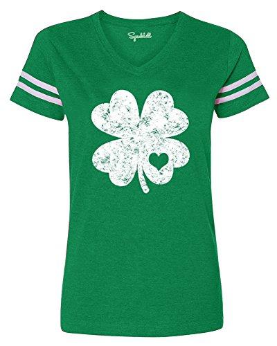 Womens Irish Cotton Shirt Short Sleeve ST. Patrick's Day Tee Top Green Clover XL