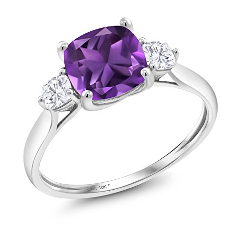 Gem Stone King 10K White Gold Solitaire w- Accent Stones Ring Cushion Purple Amethyst and Timeless Brilliant Created Moissanite (IJK) 0.26ct (DEW) (Size 7) ()
