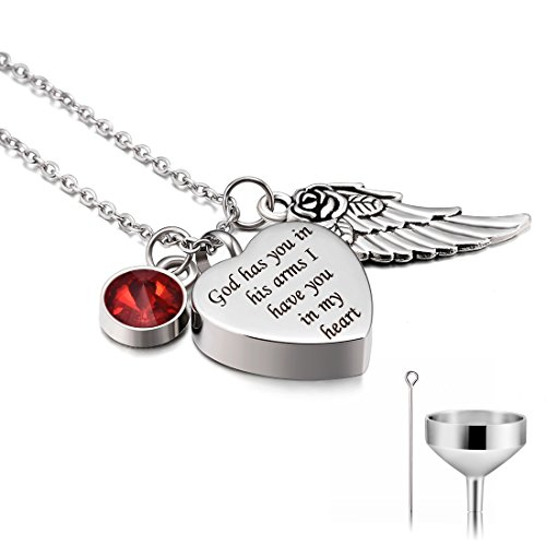 CAT EYE JEWELS God has you in his arms with Angel Wing and July Birthstone crystal Charm Stainless Steel Cremation Jewelry Keepsake Memorial Urn Necklace with Funnel Kit Included (Always Angel Heart Pendant)