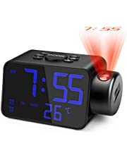 Jhua Projection Alarm Clock Radio 5.3'' LED Digital Projector Alarm Clock for Bedroom Ceiling Wall FM RadioAlarmClock 180° Projection Dimmable Dual Alarm Clock Radio with Battery Backup, USB Charger