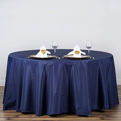 """Efavormart 120"""" Round NAVY BLUE Wholesale Linens Polyester Round Tablecloth For Wedding Banquet Restaurant Home Use"""
