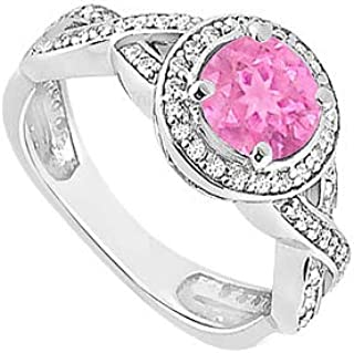 Created Pink Sapphire and Cubic Zirconia Halo Engagement Rings in 14K White Gold 1.40.ct.tgw LoveBrightJewelry UJ8660W14CZPS