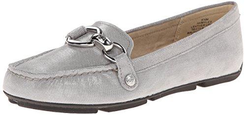AK Anne Klein Women's Myles Reptile Slip-On Loafer, Grey, 7 M US