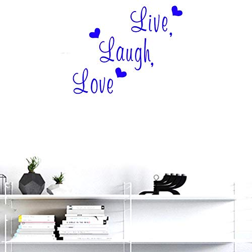 (BIBITIME English Lettering Live Laugh Love Wall Decals PVC Quotes Valentines Day Hearts Vinyl Sticker for Wedding Room Couple Lover Girlfriend Bedroom Living Room (Blue, DIY 14.56